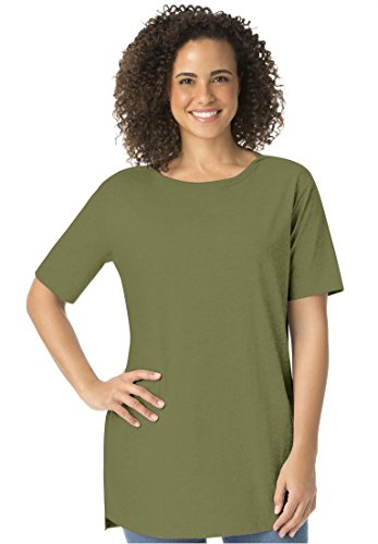 Women's Plus Size Perfect Boat Neck Tunic With Elbow Sleeves Green Fern,1X
