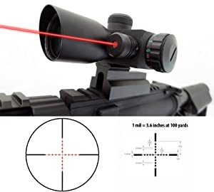 Monstrum 4x30 Compact Tactical Rifle Scope with Illuminated Mil-Dot Reticle, Integrated Rail Mount, and Built-In Red Laser Sight