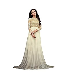 Snapvilla Women's Net Anarkali Unstitched Dress material (SV1850_White_Freesize)