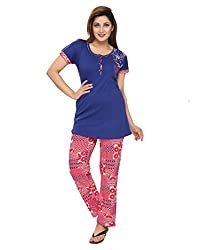 KuuKee Blue Cotton Nightsuit Sets (2678_Blue_M)
