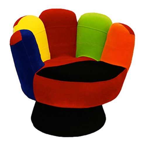 LumiSource Mitt Chair, Multi, Plush Fabric Covering