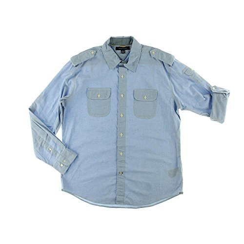 Tommy Hilfiger Mens Collared Adjustable Sleeves Button-Down Shirt