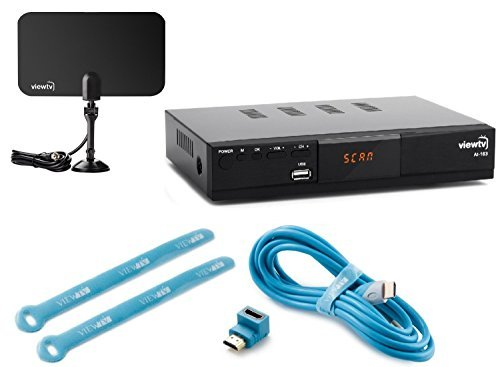 Viewtv AT-163 ATSC Digital TV Converter Box Bundle with ViewTV Flat HD Digital Indoor TV Antenna and ViewTV HDMI Cable w/ Recording PVR Function / HDMI Out / Coaxial Out / Composite Out / USB Input (Tv Adapter Box compare prices)