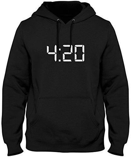 ShirtLoco Men's 420 Digital Clock Hoodie Sweatshirt, Black 2XL