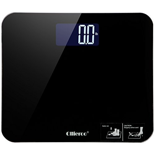 Ollieroo Bathroom Sale Most Accurate Large Readout 400lb Precision Digital Body Weight Scale with Tempered Glass Silica Non Slip Grip Smart Step-on Black (Dial Triple Action compare prices)