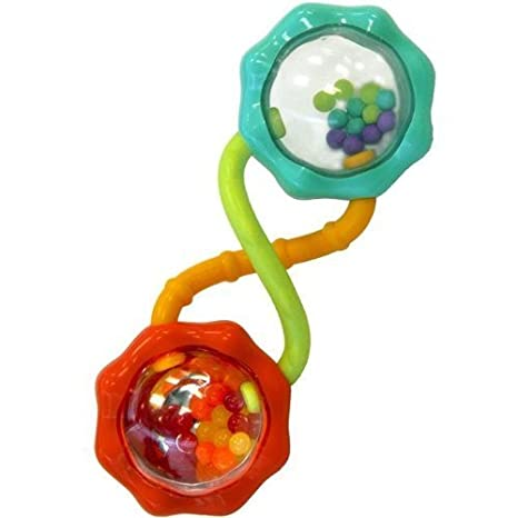 Bright Starts Rattle and Shake Barbell Rattle by KIDS II (English Manual)