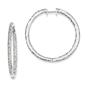 14k White Gold Diamond in-Out Hinged Hoop Earrings