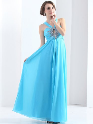 Landybridal 2013 New Style Sheath Column Halter Floor Length Chiffon Blue Evening Dress F12074