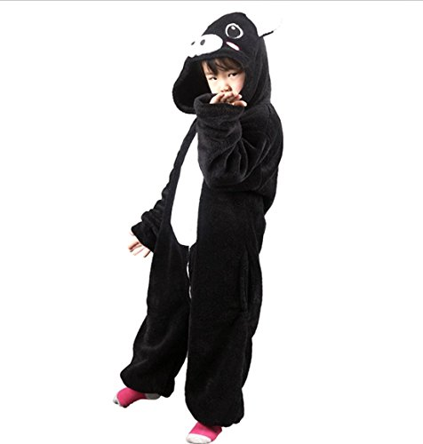 Autek Children Kid Baby Cute Animal Unisex Onesie Fancy Dress Costume Hoodies Pajamas Sleep Wear Little Black Pig Piggy