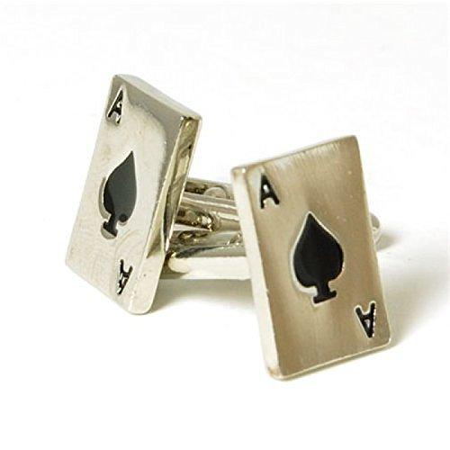 "Jakob Strauss da uomo in metallo, Silvertone: ""Third Eye Blind""-Gemelli da polso a forma di carta asso di picche"