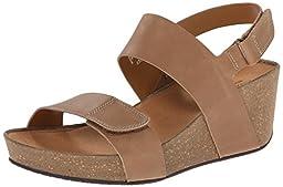 Clarks Women\'s Auriel Fin Wedge Sandal, Beige Leather, 9 M US