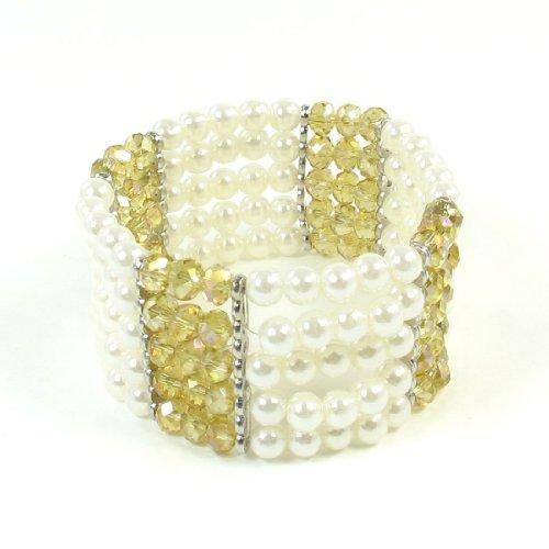 Lady Light Yellow White 5 Rows Fake Pearl Crystal Decor Flexible Bracelet Bangle
