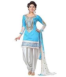 Fstore Blue Embroidered Georgette churidar salwar suit