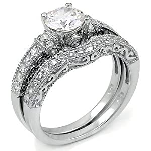 Sterling Silver Cubic Zirconia CZ Wedding Engagement Ring Set Sz 10