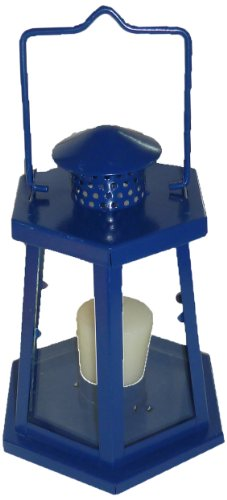 Biedermann & Sons Lighthouse Tealight Candle Holder Lantern, Blue, 7.75-Inch Tall