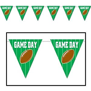 Beistle 57704 1-Pack Game Day Football Giant Pennant Banner for Parties, 23 by 12-Feet by The Beistle Company