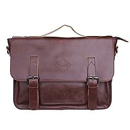 Men Vintage PU Leather Briefcase Laptop Shoulder Messenger Bag Zebella