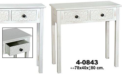 DonRegaloWeb - Recibidor - Mesa de entrada con 2 cajones de madera repujada decorada con mandalas en color blanco decapado