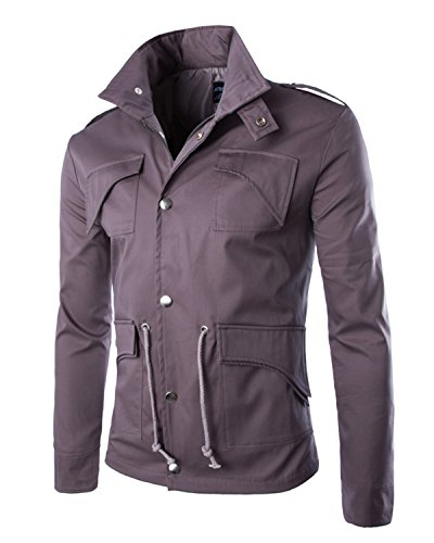 Sunnorn Men's Cool British Fashion New Military Casual Slim Top Jacket Zip Button Coat (M, Red gray) (British Army Clothes compare prices)