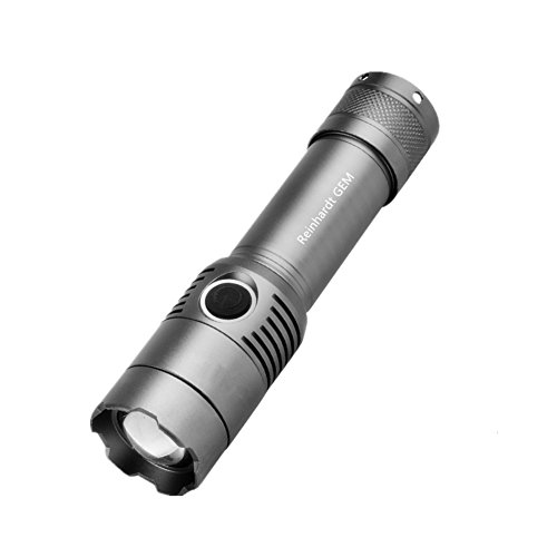 Reinhardt-GEM-Flashlights3-Modes-Adjustable-Focus-Rechargeable-LED-Flashlight1000-Lumens-Tactical-FlashlightSilver