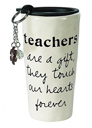 C.R. Gibson Double Wall Travel Cup And Key Chain Gift Set, Teachers