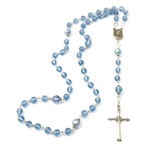 Sterling Silver Celestial Crystal Rosary with with Sterling Silver Crucifix, Center and Links