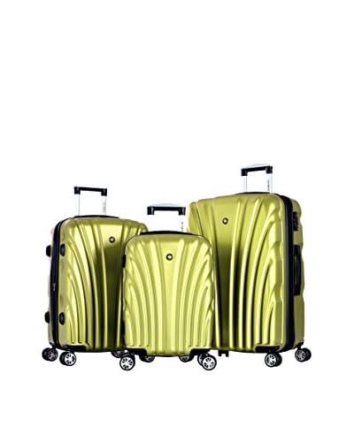 "Olympia USA ""Vortex"" 3-Piece Expandable Hardcase Spinner Set with TSA Lock, Lime"