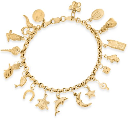 9ct Yellow Gold 19 Assorted Charm Bracelet of 19cm