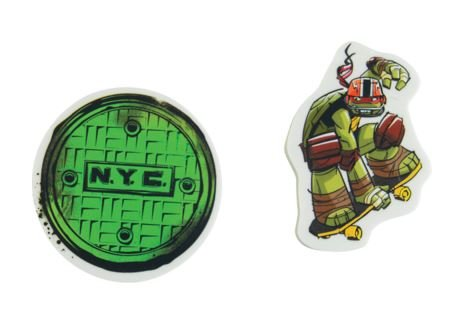 Staples Teenage Mutant Ninja Turtle Set of 2 Erasers ~ Sewer Cover, Raphael Grabbing Skateboard