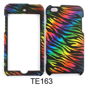 Cell Armor Snap-On Cover For Ipod Touch 4 (Rainbow Zebra Print On Black) front-591450