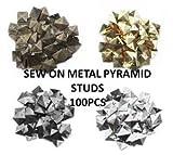 Crystals & Gems Uk 100Pcs Metal Pyramid Stud Sew On Stitch On Stick On Embellishments,Biker,Goth 12Mm Silver