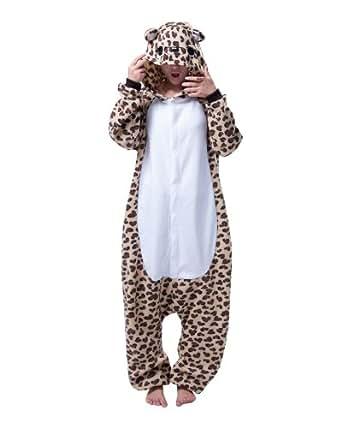 Hee Grand Unisexe Animaux Flanelle à Capuche Pyjamas X-Large Léopard