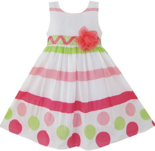 Sunny Fashion Girls Dress Dot Strip White Green Princess Size 5