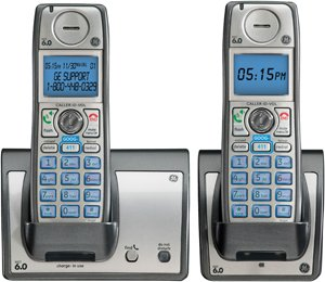 GE 28213EE2 Dect 6.0 Advanced Cordless Phone with Google Free Directory Assistance Goog-411, CID, and 2 Handsets