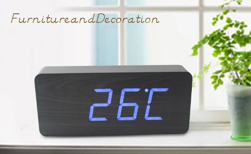 Greenwon Rectangular Wooden Clock Alarm Blue Led Office Desk Wood Digital With Temperature Voice And Touch Activated