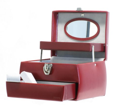 Davidt's Chrome Range Leather Auto Opening Jewel Box in Red