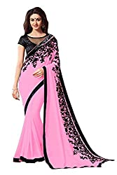 Morpankh enterprise Pink Chiffon Saree ( flower pink saree )
