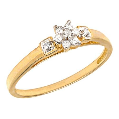 10k Gold Flower Cluster Diamond Promise Ring
