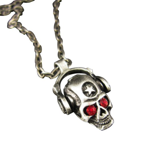 Vintage Retro Punk Red Crystal Eyes Wearing Headset Star Pirate Skull Pendant Necklace