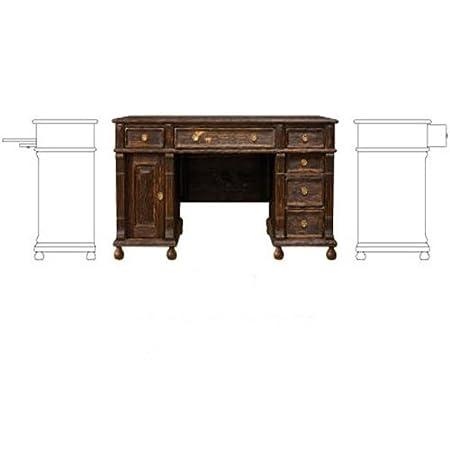 Schreibtisch 80/170/70 - Echtholz massiv Kiefer - Landhaus vintage - 80/170/75 - Antik dunkel, rustikal dunkelbraun