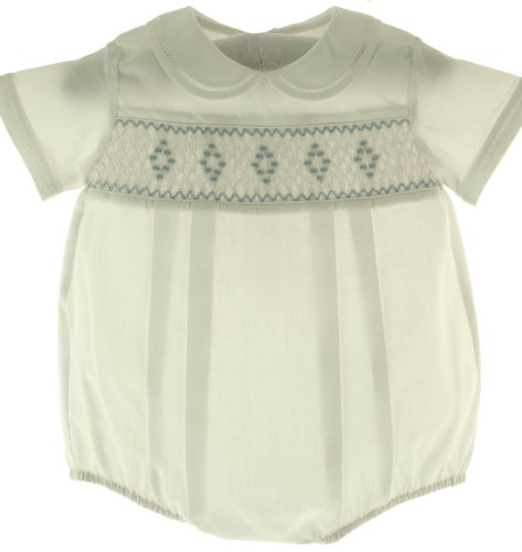 Feltman Brothers Newborn Boys White Smocked Bubble Take Home Outfit Nb front-375174