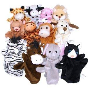 1 Dozen Velour Animal Hand Puppets from OTC