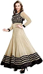 Shreenathji Enterprise Beige Georgette Anarkali Dress Materials (H155_Beige_Free size)