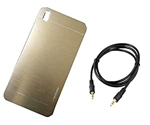 D'clair Motomo Golden Back Case Cover and Aux Cable For HTC Desire 816