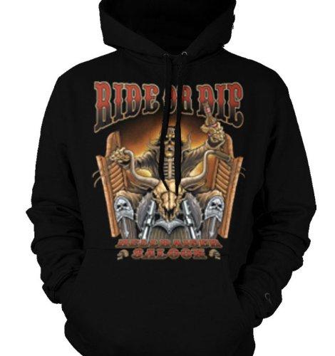 Ride Or Die, Hellraiser Saloon Mens Sweatshirt, Skeleton Riding Motorcycle Mens Pullover Hoodie, X-Large, Black