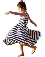 Amoin Girls Summer One Piece Beach Long Dress Striped Sundress Skirts 3-8y