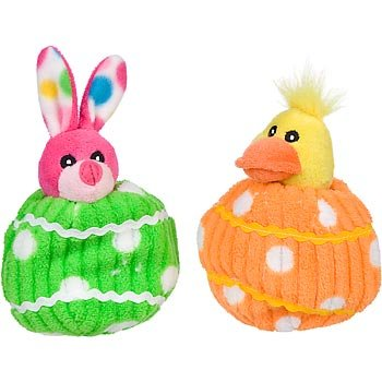 Easter Plush Bunny or Duck Crinkle Egg Dog Toy