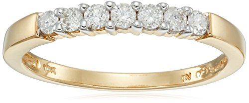 10k Yellow Gold Round 7-Stone Diamond Ring (1/4 cttw, H-I Color, I2-I3 Clarity), Size 6 (Anniversary Rings Yellow Gold compare prices)