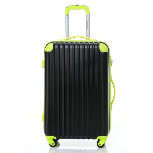 [トラベルハウス]Travelhouse スーツケース [S ブラック&グリーン] キャリーバッグ TSA ファスナー 4輪