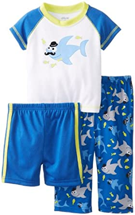Little Me Baby-Boys Infant Mr Shark 3 Piece Pajama, Blue Print, 24 Months